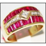 Genuine Diamond 14K Yellow Gold Gemstone Ruby Ring [RR073]