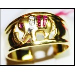 14K Yellow Gold Cocktail Ruby Gemstone Diamond Elephant Ring [RR002]