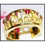 Ruby Gemstone Diamond 14K Yellow Gold Cocktail Elephant Ring [RR004]