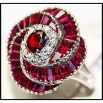 Soild 18K White Gold Gorgeous Ruby Diamond Ring [RB0001]