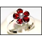Flower Ruby Ring and Diamond Solid 18K White Gold [RF0001]