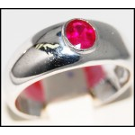 Stunning 14K White Gold Ruby Solitaire Gemstone Ring [RR061]