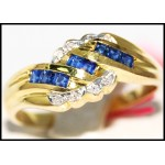 Diamond Estate Gemstone Blue Sapphire Ring 14K Yellow Gold [RR040]