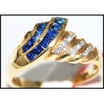 Diamond Gorgeous Gemstone 14K Yellow Gold Blue Sapphire Ring [RR041]