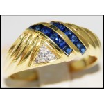 14K Yellow Gold Estate Gemstone Diamond Blue Sapphire Ring [RR069]