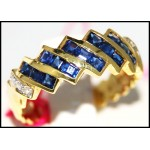 Gorgeous Diamond Blue Sapphire Gemstone Ring 14K Yellow Gold [RR070]