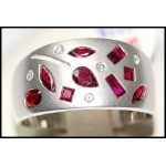 18K White Gold Diamond Ruby Band Ring [RF0004]