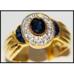 Diamond Gorgeous Gemstone 14K Yellow Gold Blue Sapphire Ring [RR071]