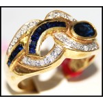 Diamond Stunning Gemstone Blue Sapphire Ring 14K Yellow Gold [RR075]