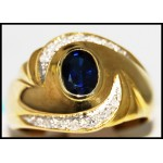 Stunning Blue Sapphire Diamond Gemstone Ring 14K Yellow Gold [RR077]