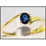 Solitaire Blue Sapphire 14K Yellow Gold Stunning Gemstone Ring [RR056]