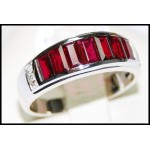 Baguette Ruby and Diamond Soild 18K White Gold [RQ0002]