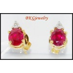 Natural Diamond Stud Gemstone Ruby Earrings 18K Yellow Gold [E0028]