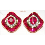 Gorgeous Gemstone 18K Yellow Gold Diamond Ruby Earrings [E0042]
