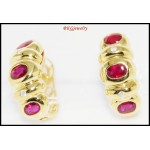18K Yellow Gold Natural Diamond Gemstone Ruby Earrings [E0062]
