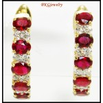 18K Yellow Gold Diamond Gorgeous Gemstone Ruby Earrings [E0077]