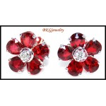18K White Gold Gemstone Diamond Ruby Flower Earrings [E0047]