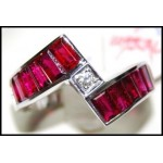 Baguette Cut Ruby Ring and Diamond Soild 18K White Gold[RQ0005]
