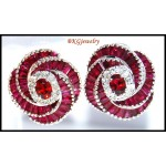 Gemstone Gorgeous Ruby Diamond Earrings 18K White Gold [E0036]