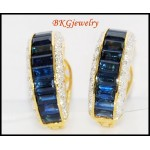 Clip-On 18K Yellow Gold Gorgeous Diamond Blue Sapphire Earrings [E0004]