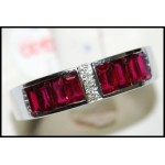 18K White Gold Baguette Ruby Cut and Diamond Ring [RQ0013]