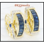 18K Yellow Gold Blue Sapphire Estate Diamond Earrings [E0017]