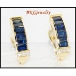 Stunning Blue Sapphire 18K Yellow Gold Diamond Earrings [E0018]