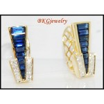 Natural Diamond Blue Sapphire Earrings 18K Yellow Gold [E0019]