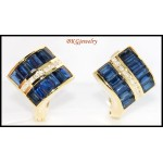 Genuine Diamond Blue Sapphire Earrings 18K Yellow Gold [E0024]