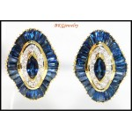 Exclusive Diamond 18K Yellow Gold Blue Sapphire Earrings [E0024]