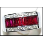 Gorgeous Baguette Ruby Ring and Diamond Soild 18K White Gold [RQ0017]
