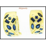 Genuine Blue Sapphire 18K Yellow Gold Diamond Earrings [E0056]