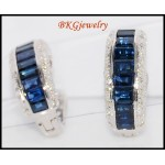 Blue Sapphire Diamond Earrings Jewelry 18K White Gold [E0003]