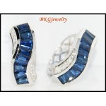 Diamond Genuine Blue Sapphire Earrings 18K White Gold [E0010]
