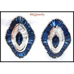 18K White Gold Diamond Blue Sapphire Earrings Jewelry [E0039]