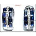 Diamond Gemstone 18K White Gold Blue Sapphire Earrings [E0085]