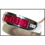 18K White Gold Ruby and Diamond Band Ring [RQ0025]