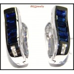Blue Sapphire 18K White Gold Jewelry Diamond Earrings [E0089]