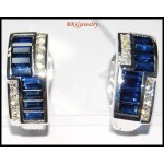 Unique 18K White Gold Diamond Blue Sapphire Earrings [E0081]