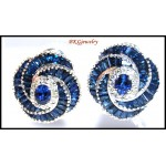 Blue Sapphire Diamond Eternity Earrings 18K White Gold [E0037]
