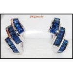 Eternity Blue Sapphire Gemstone 18K White Gold Earrings [E0022]