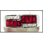 Ruby Ring and Diamond Solid 18K White Gold [RQ0027]