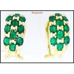 Diamond Genuine Gemstone Emerald Earrings 18K White Gold [E0050]