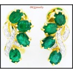 Unique Emerald Gemstone 18K White Gold Diamond Earrings [E0052]