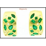 18K White Gold Natural Emerald Gemstone Diamond Earrings [E0055]