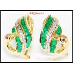 Diamond Gemstone Emerald Swan Earrings 18K White Gold [E0068]