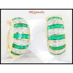 18K White Gold Diamond Gemstone Emerald Eternity Earrings [E0070]