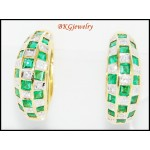 18K White Gold Gemstone Diamond Jewelry Emerald Earrings [E0072]