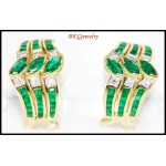 Unique Diamond Emerald Gemstone Earrings 18K White Gold [E0067]