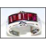 Diamond Center Heart and Ruby Ring Solid 18K White Gold [RQ0030]